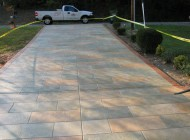 stamped overlay on concrete driveway