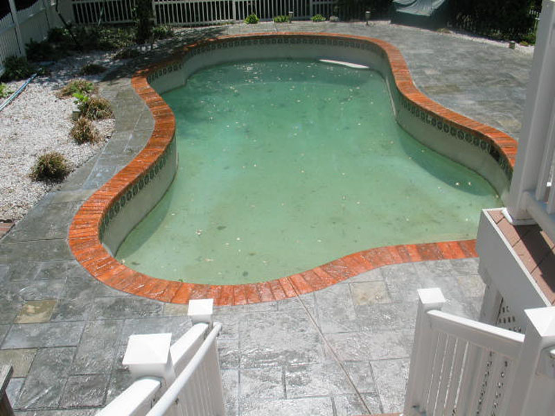 Stamped Concrete around a pool deck