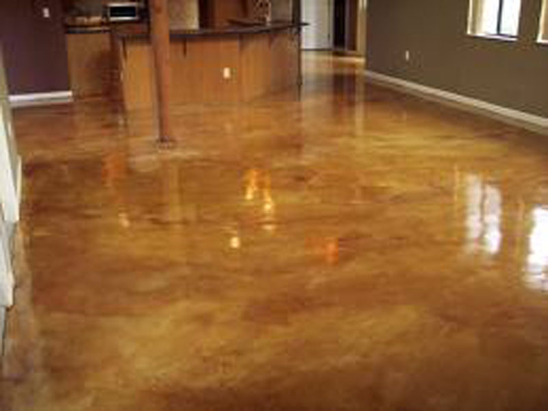 Interior stained concrete flooring