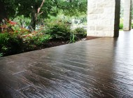Tuscan wood plank concrete patio