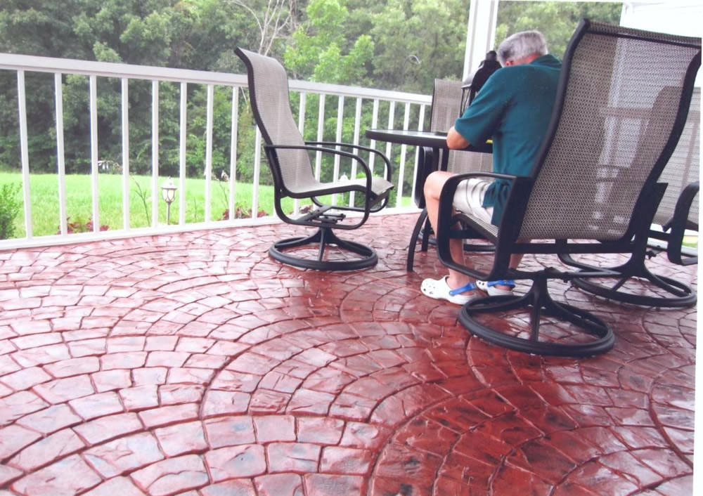Lovely Colored Stamped Concrete Patio San Antonio Tx