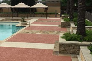 multiple textured pool deck